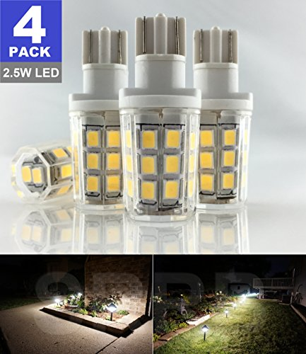 Garden Wedge - SRRB Direct 2.5W LED Replacement Landscape Pathway Light Bulb 12V AC/DC Wedge Base T5 T10 for Malibu Paradise Moonrays and More (4 Pack, Natural White)