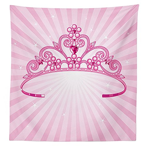 [Girls Nursery Kids Room Decor Tablecloth Beautiful Pink Fairy Princess Costume Print Crown with Diamond Image Art Dining Room Kitchen Rectangular Table] (Rosetta Fairy Costumes)