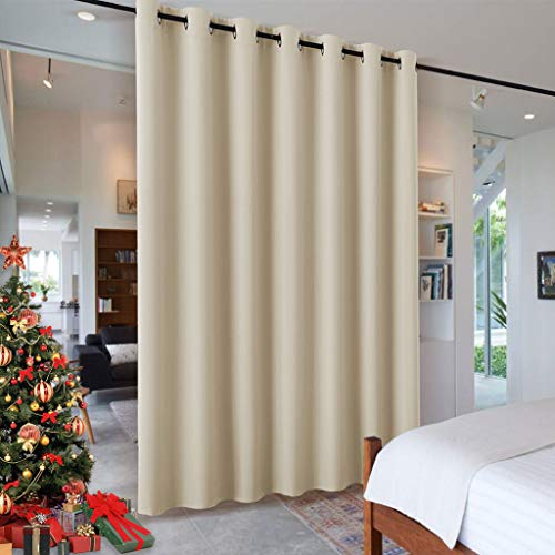 RYB HOME Wall Divider Curtain for Living Room, Noise Reduction Privacy Curtain with Anti-Rust Grommet Top Blackout Curtain for Living Room/Kids Room, 7 ft Tall x 8.3 ft Wide, Cream Beige, 1 Pack (Cream Divider Room)