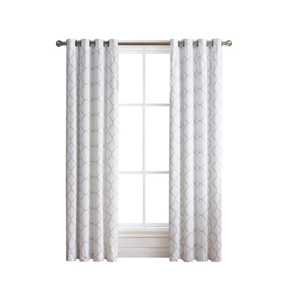 2 Pack: Regal Home Collections Meridian Energy Efficient/Room Darkening/Noise Reducing/Thermal Lattice Chic Foamback Grommet Curtains - Assorted Colors (Taupe)