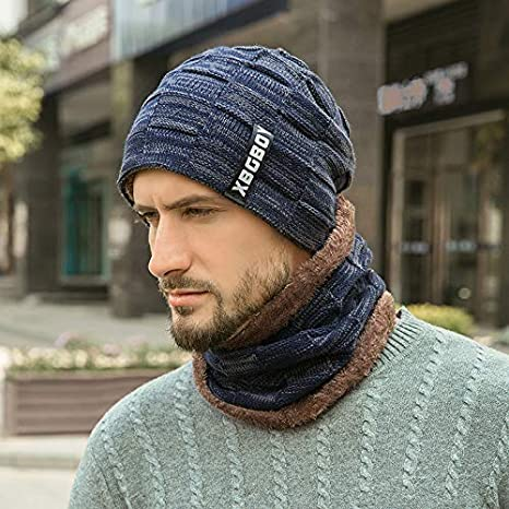 2-Pieces Winter Beanie Hat Scarf Set Warm Knit Hat Thick Knit Skull Cap Beanie