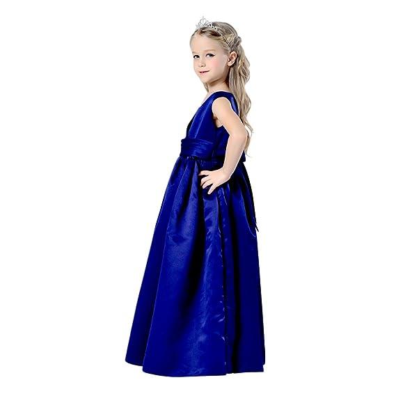 Live It Style It Girls Bridesmaid Dress Navy Blue Long Full Length Satin Flower Girl Princess Communion Formal Christening Clothing Sleeveless Kids Dresses ...