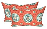 Set of 2 - Indoor / Outdoor Jumbo, Large, Over-sized, Rectangle / Lumbar Chaise Lounge Decorative Throw / Toss Pillows - Red, Coral, Turquoise Sundial