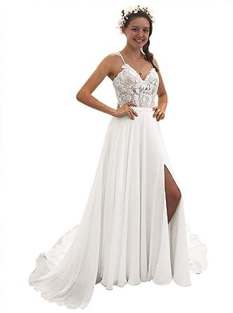 Beach Wedding Dress Spaghetti Strap