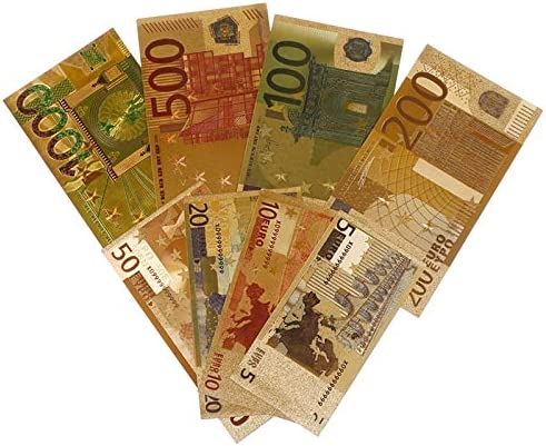 HENGTONGTONGXUN 2020カラフルな紙幣は紙幣ユーロゴールドメッキ紙幣8個セットの紙幣の価値コレクション工芸 使いやすい (色 : A)