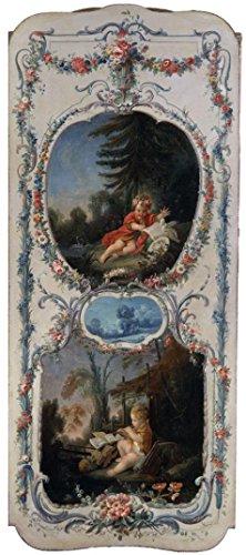 のポリエステルキャンバス地の油絵Francois Boucher (ワークショップの)–The Arts and Sciences詩と音楽、1750–52`、サイズ8x 18インチ/ 20x 46cm、このレプリカアートDecorativePrintsキャンバスはフィットforロビーDecorとホームギャラリーアートとギフトの商品画像