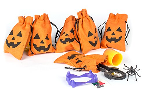 Set of 6 Halloween Novelty Toy Jack o Lantern Trick or Treat Drawstring Goody Treat Bags Filled With Halloween Disc Shooters, Spider Rings, Vampire Teeth, Glitter Tattoos, and Coil Spring Toys
