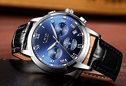 Watch Men Leather Strap Watches Men's Chronograph Waterproof Sport Date Quartz Wrist Watch Blue by LIGE (Image #5)