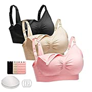 FOMANSH 3PACK Seamless Nursing Bra,Maternity Bra For Breastfeeding With Extenders&Clips M
