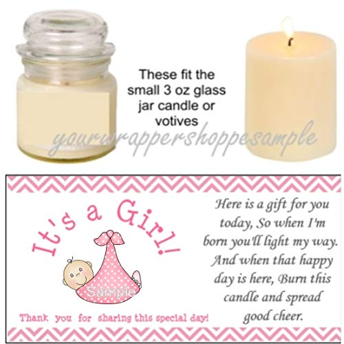 (56 Pink & Grey Elephant Baby Shower Candle Party Favor Labels It's a)