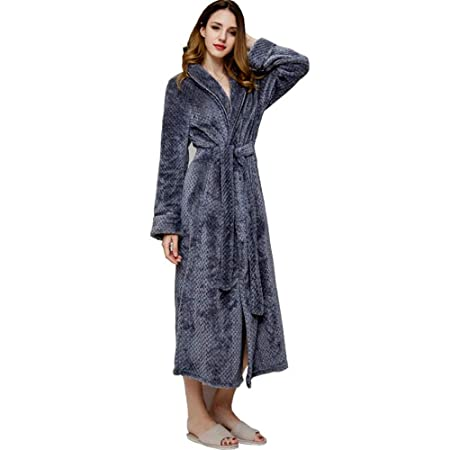 351f0c850505 HUIFANG Bathrobe for Men and Women Autumn and Winter Thick Flannel Nightgown  Long Couple Warm Pajamas Dressing Gown (Color   Gray Female