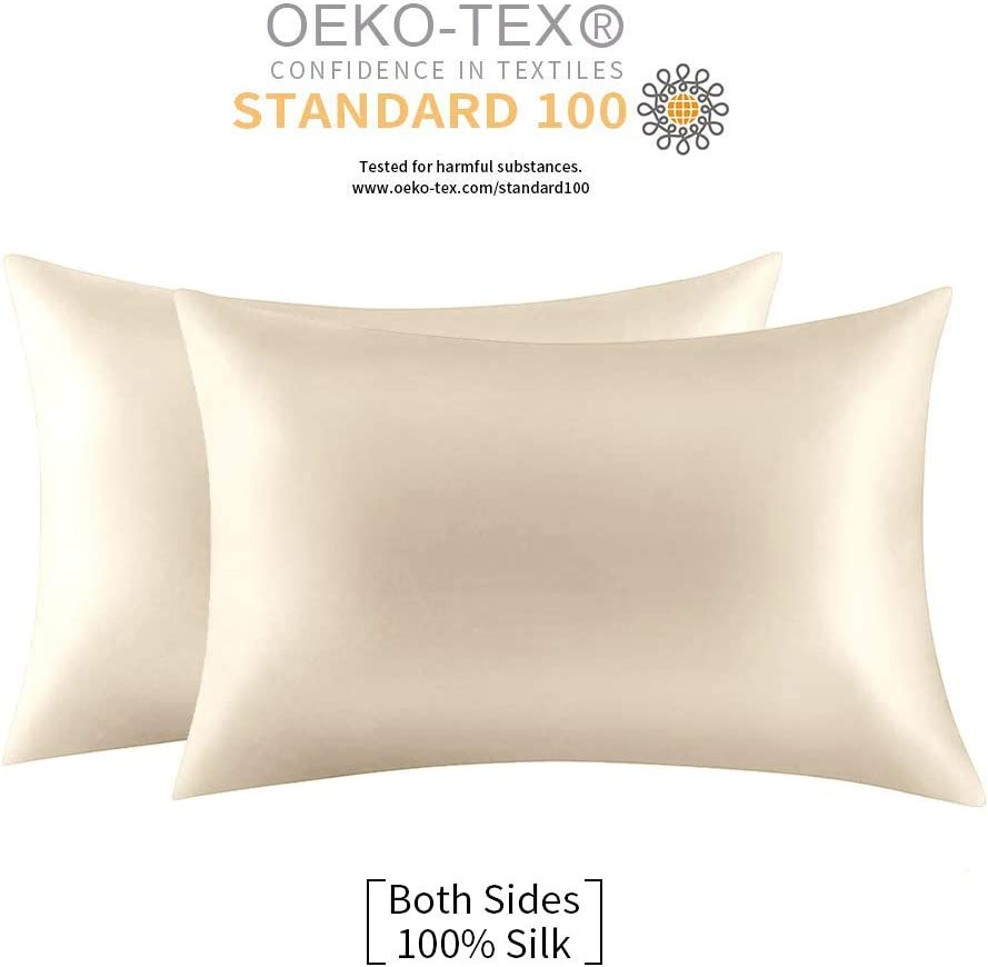 Jocoku 100% Mulberry Silk Pillowcases Set of 2 for Hair and Skin and Super Soft and Breathable Standard Size Nature Silk Pillowcases (Standard, Buff Beige)