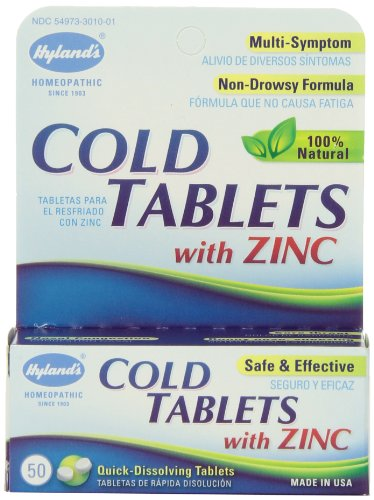 Hyland's Cold Tablets with Zinc, Natural Non-Drowsy Cold Relief, 50 (Sore Throat Tabs 100 Tablets)