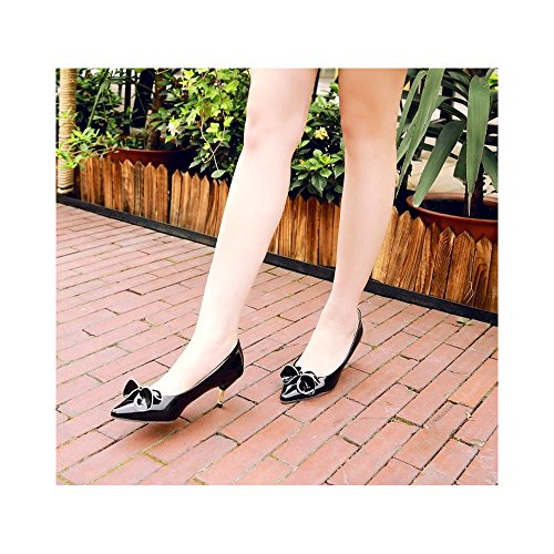 OCHENTA Mujer 2017 Nuevo Sandalias Moda de Verano 7CM Zapatos de novia Negro
