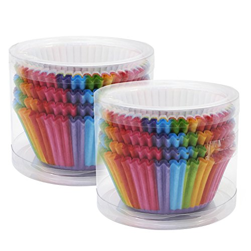 OcrPaper Baking Cups Cake Liners Cupcake Muffin Cake Wrappers 200PCS(Rainbow-1)]()