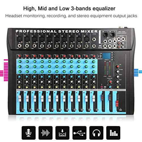 ct12 10 mono 2 stereo input 12 channel professional usb mixer console high middle low 3. Black Bedroom Furniture Sets. Home Design Ideas