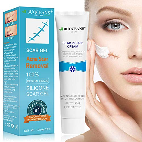 Scar Gel, Acne Scar Removal, Advanced Scar Gel Medical-Grade Silicone for Face, Body, Stretch Marks, C-Sections, Surgical, Burn, Acne, Old & New Scars, Clinically Proven, 20g