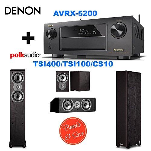Denon AVRX5200W 9.2 Network A/V Receiver with Wi-Fi and Bluetooth + 2 Polk Audio TSi400 Speaker - 2-way - Black + Polk Audio TSi100 Bookshelf Speakers (Pair, Black) + Polk Audio CS10 Center Channel Speaker (Single, Black)