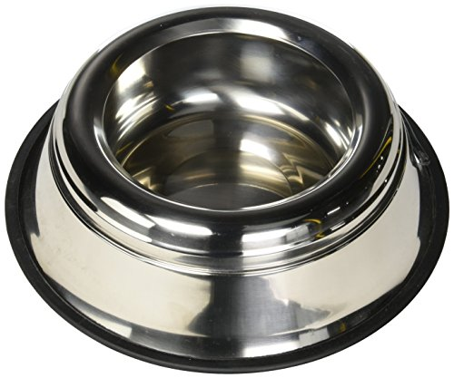 Indipets Stainless Steel Spill Proof - Splash Free No Tip Anti Skid Dish with easy pick up grip handle, 64-Ounce