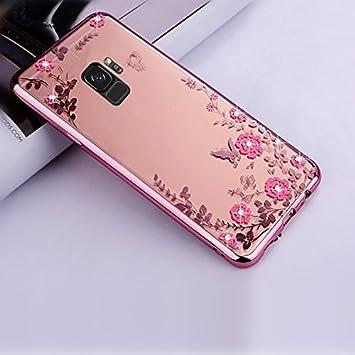 Funda para Samsung Galaxy S9 Plus Carcasa Silicona Transparente Protector TPU Airbag Anti-Choque Ultra-Delgado Anti-Arañazos Flor Case para Teléfono ...
