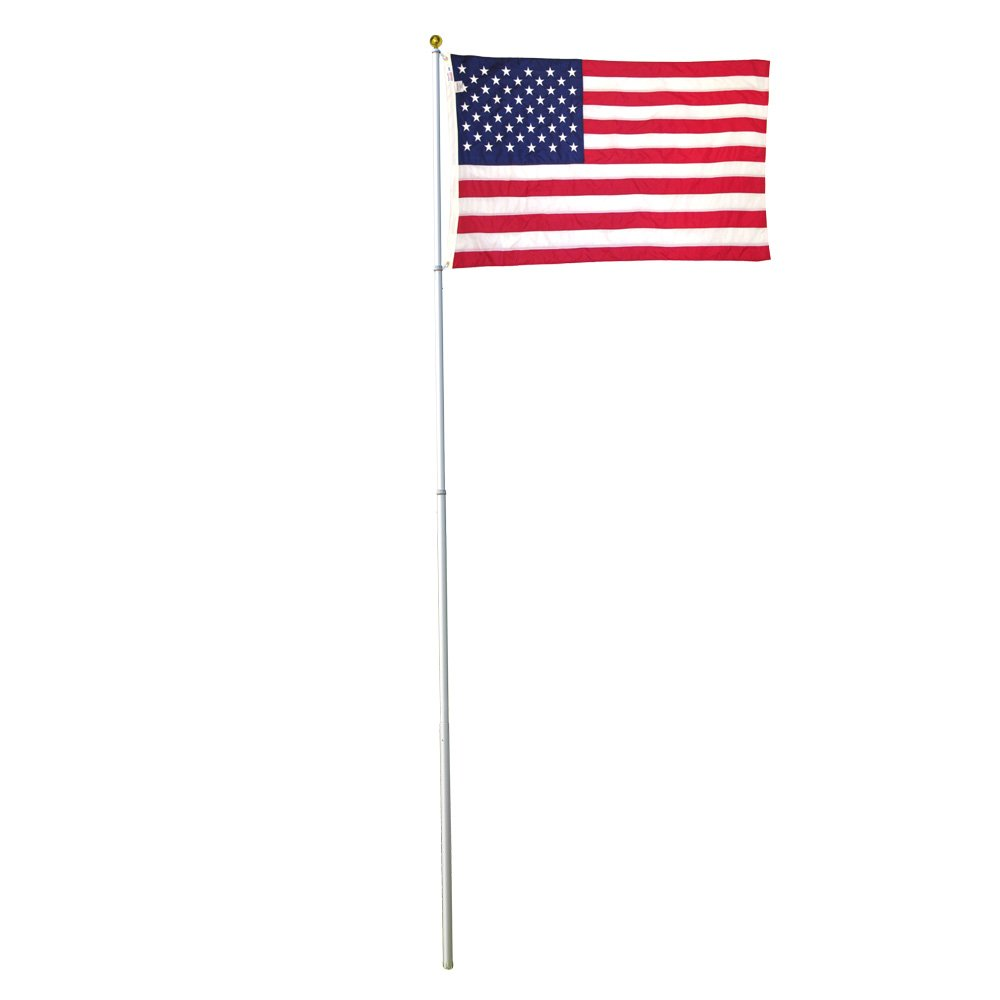 Super Tough 20ft Telescoping Flagpole with Sewn Nylon Valley Forge Flag