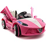 2018 Ferrari Spider GT Style 12V Ride On Motorized Kids Toy Cars Powered Wheels W/ Remote, Leather Seat, LED Lights (Pink)