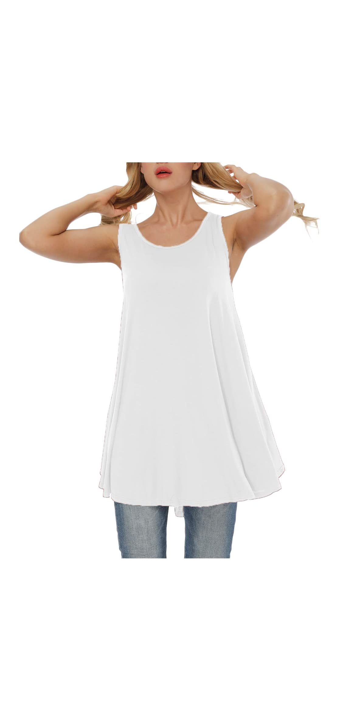 Women's Plus Size Solid Sleeveless Tunic Round Neck