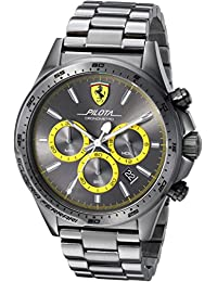 Ferrari Men's 'PILOTA' Quartz Resin Casual Watch, Color:Grey (Model: 0830391)