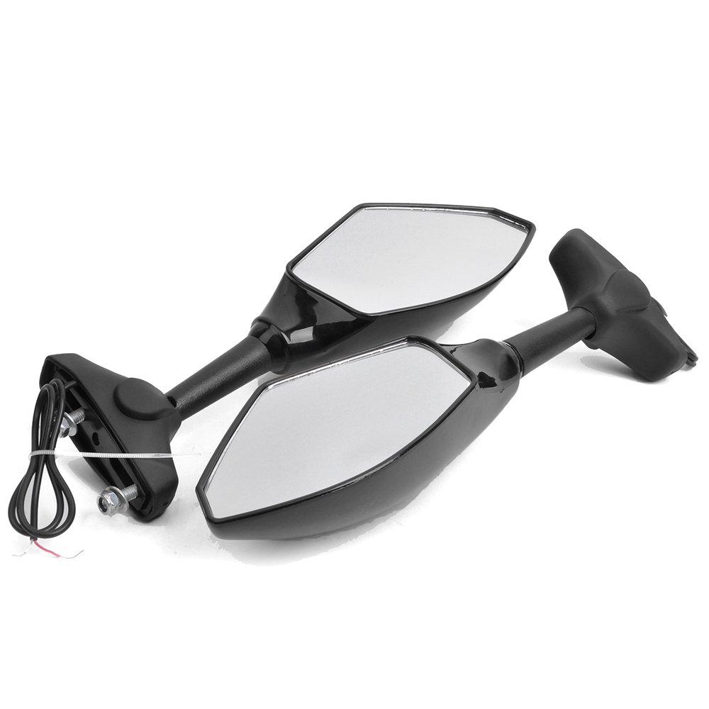 Rich Choices Custom Universal Motorcycle LED Turn Signal Mirrors for Sport Bike Racing Bikes-Pair Smooth Black+Clear Lens