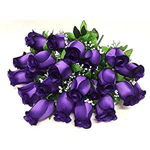 "Silk Flower Garden 24 Heads Rose Bud Bouquet 24"", Purple 54"