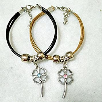 Amazon One Pair Of Lovers Bracelet Jewelry Minimalist Students Birthday Gift Girlfriend Beautiful Leather Cord Korean Clover Beauty