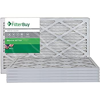 AFB Silver MERV 8 14x25x1 Pleated AC Furnace Air Filter. Pack of 6 Filters. 100% produced in the USA.