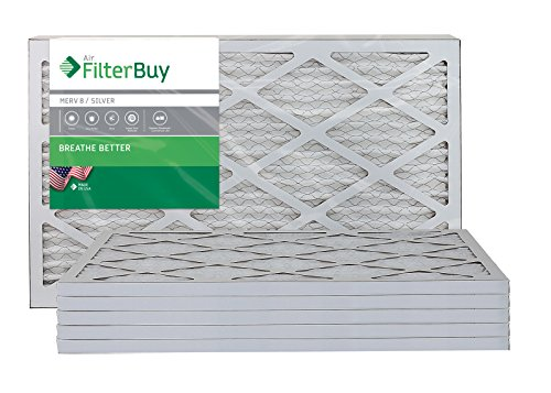 (FilterBuy 16x25x1 MERV 8 Pleated AC Furnace Air Filter, (Pack of 6 Filters), 16x25x1 - Silver)