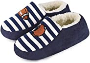 HomeTop Boys Girls Cotton Knit Sherpa Lined House Slippers with Elastic Back