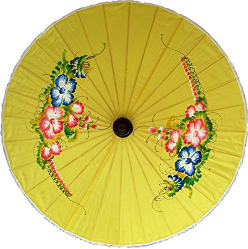 Painted Umbrellas Hand (Oriental-Decor Good Luck Hand Painted Umbrella 35 Inch)