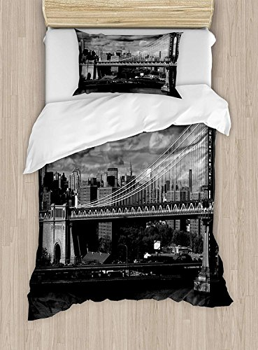 (LovingIn 4 Pieces Bedding Sets for Child Twin Size, New York Duvet Cover Set,Panorama of New York City Skyline with Focus on Manhattan Bridge Photo, 1 Duvet Cover 1 Flat Sheet and 2 Pillowcases)