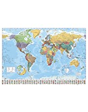 GB eye FL0340, Wereldkaart, 2015, Giant Poster, Hout, Divers, 65x3.5x3.5 cm