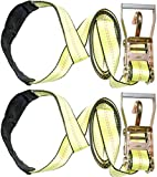 2'' X 10' Dkg Soft Eye Strap with Finger Hook Ratchet Tie Down - Over Wheel Lasso Strap with Ratchet Car Carrier Tie Down - Compete Car Hauler Trailer Tire Strap with Ratchet (2 Pack)