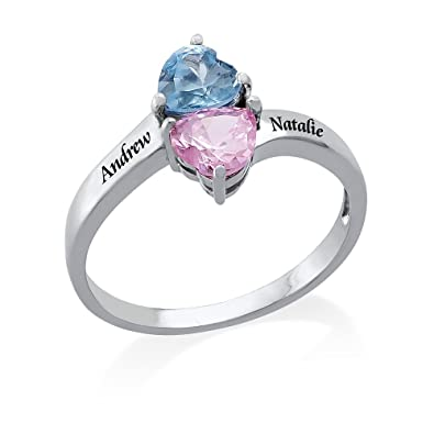 74c8fbfc438b1 MyNameNecklace Two Heart Shaped CZ Birthstones Engraved Ring - Personalized  & Custom Made Gift for Her