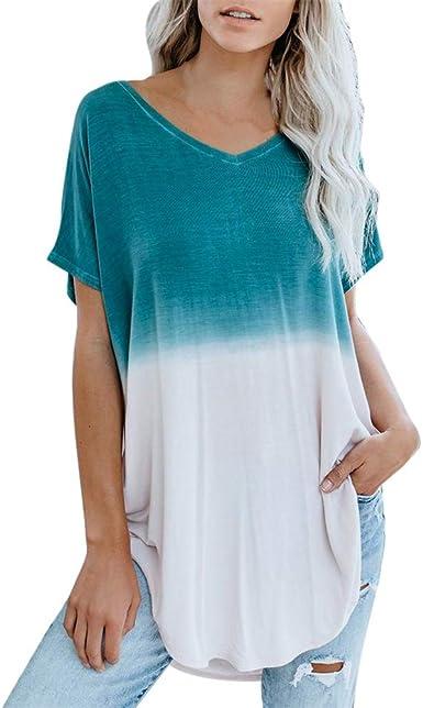 LUNULE VENMO Camisetas Mujer Manga Corta Blusas Mujer Elegante Camisas Verano Casual Blusa con Cuello en V Camiseta Basica Suelta Tops de Fiesta Casual Camiseta para Mujer: Amazon.es: Ropa y accesorios