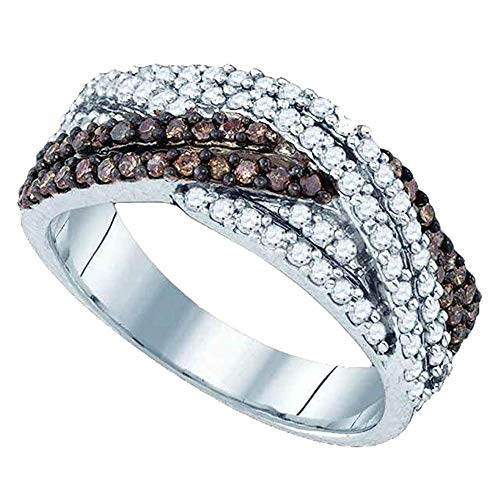 (Jewel Tie - Size 7 - Solid 925 Sterling Silver Round Chocolate Brown Diamond Woven Crossover Band Ring (3/4 Cttw.))