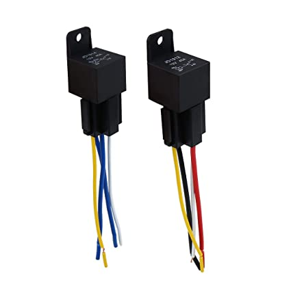 Uxcell Dc 12v 40a Spst Automotive Car Relay 4 Pin 4 Wires W Harness Socket 2pcs
