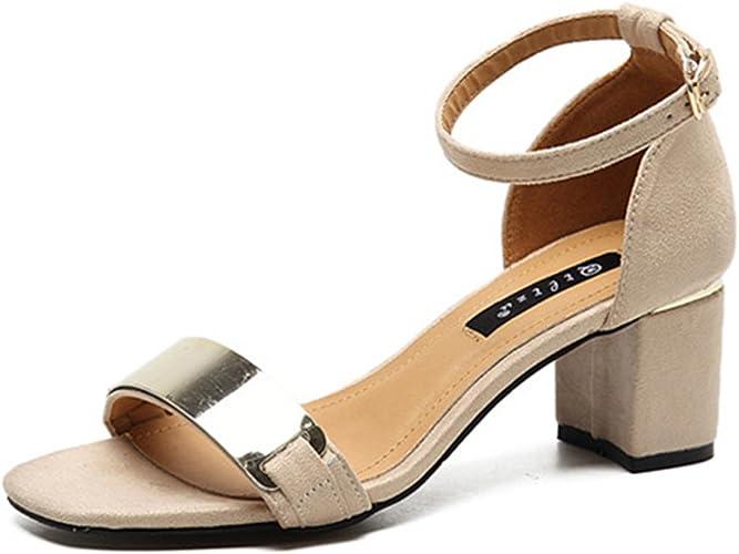 Femme Sandales en Velours Chaussures à Gros Talons Hauts