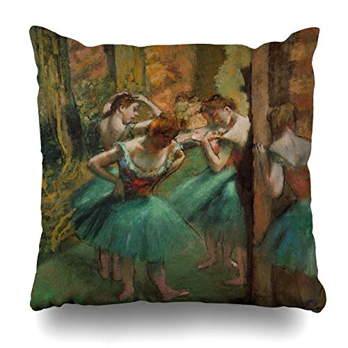 Ahawoso Throw Pillow Cover Square 16x16 Ballet Brown Painting Dancers Pink Green by Edgar French Degas Orange Impressionist Years Old Design Zippered Cushion Pillow Case Home Decor Pillowcase