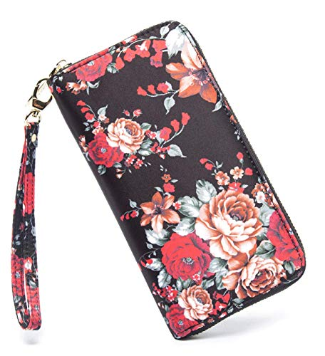 LOVESHE Women wallet BigFlower Bohemian wristlet Clutch wallets(BigFlower)