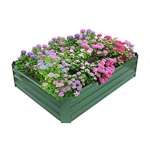 Babylon Patio Garden Flower Planter, Raised Bed, Elevated Garden Planter Box For Growing Herbs, Vegetables, Flowers,Powder-coated Metal,Green, 47.2'' L x 35.4'' W x 11.8'' H