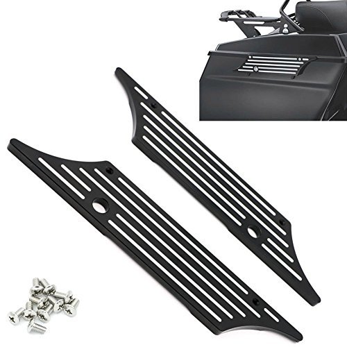 Alpha Rider Black Edge Contrast Cut Billet Saddlebag Latch Covers For All Harley Davidson Touring Models Hard Bags 1993-2013