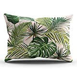 WEINIYA Bedroom Custom Decor Beautiful Floral Summer Tropical Palm Leaves Throw Pillow Cover Elegant Design One Side Printed Patterning Lumbar 12x24 Inches