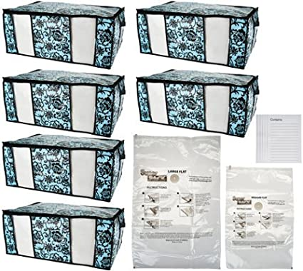 SuperPack 6 Jumbo Totes w//Compression Bags Plus 2 Bag Bonus Peony