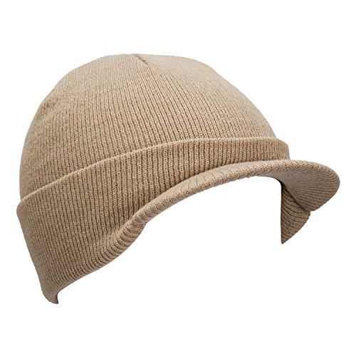 YCHY Outdoor Warm Thick Knit hat Beanie Cap With Visor - Thick Wearing Guys Glasses
